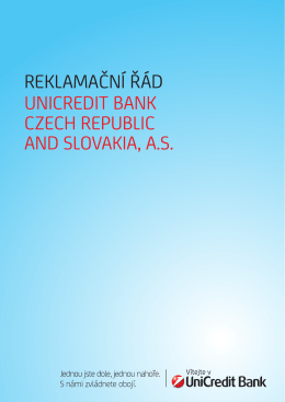 REKLAMAČNÍ ŘÁD UNiCREDit BANK CzECh REpUBLiC AND