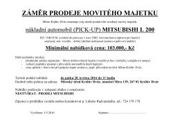záměr prodeje movitého majetku