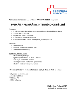 primář / primářka interního oddělení