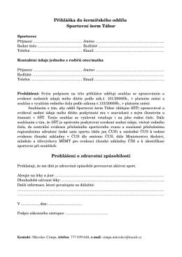 Přihláška pro dítě - Sportovní šerm Tábor