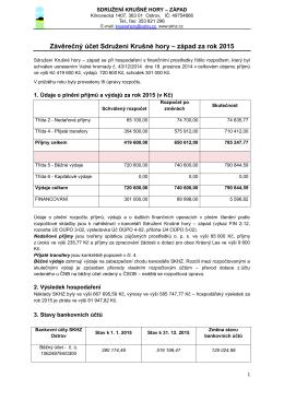 Závěrečný účet Sdružení Krušné hory – západ za rok 2013