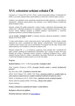 XVI. celostátní setkání celiaků ČR