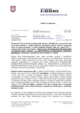 Posuzování vliv na životní prost edí podle zákona . 100/2001 Sb., o