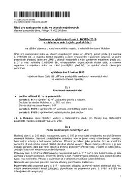 Oznámení o vyhlášení VŘ č. BKM-34