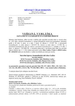 Veřejná vyhláška oznámení o zahájení stavebního řízení pro stavbu
