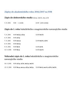 Zápis na FIM na akademický rok 2016-17