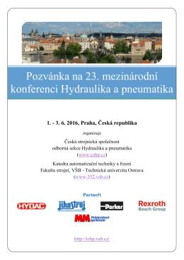 Pozvánka na 23. mezinárodní konferenci Hydraulika a