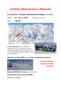 Informace k předvánočnímu lyžařskému výběrovému kurzu v
