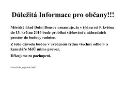 Důležitá Informace pro občany!!!