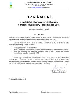 OZN Á MEN Í o zveřejnění návrhu závěrečného účtu Sdružení