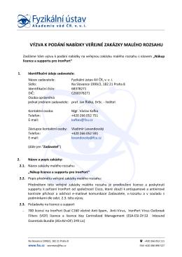 Výzva k podání nabídky - Fyzikální ústav Akademie věd ČR