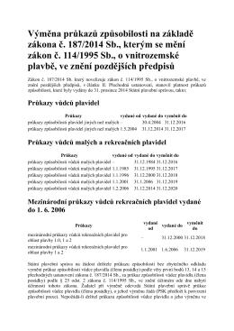 Výměna průkazů VMP - YCR Jachting Roudnice nL