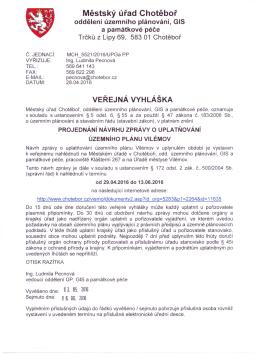 Městský úřad Chotěboř oddělení územního plánování, GIS a