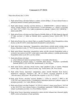 Usnesení č. 27/2016 z jednání rady ze dne 2.5.2016
