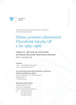 Pozvánka a program Zlaté promoce - Filozofická fakulta Univerzity