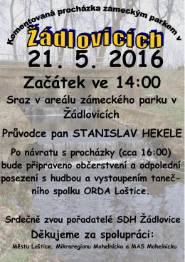 Komentovaná procházka zámeckým parkem v Žádlovicích 21.5.2016