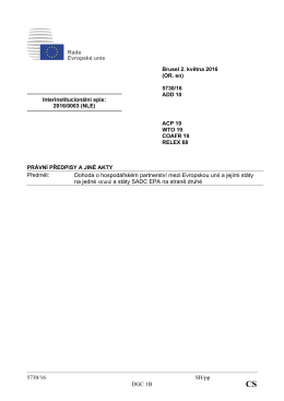 5730/16 SH/pp DGC 1B Dohoda o hospodářském partnerství mezi