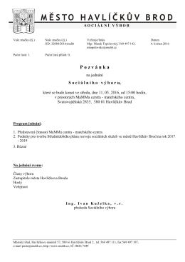 Pozvánka na jednání sociálního výboru 11.5.2016