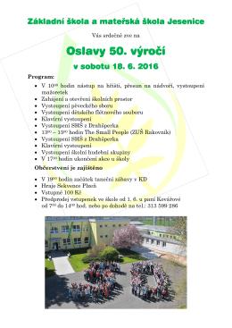 Oslavy 50. výročí - Základní škola a mateřská škola Jesenice