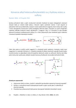 Konverze alkyl heterosulfonylacetátů na γ