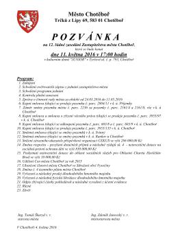 Pozvánka na 12. řádné zasedání Zastupitelstva města Chotěboř
