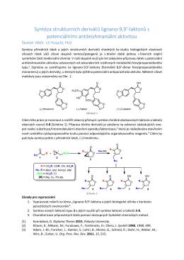 Syntéza strukturních derivátů lignano-9,9`