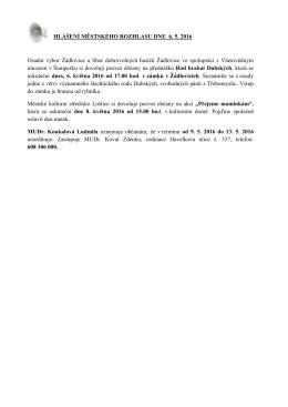 Hlášení městského rozhlasu dne 6.5.2016