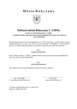 Nařízení města Rokycany č. 3-2016