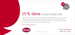15 % slevana jedno jízdní kolo