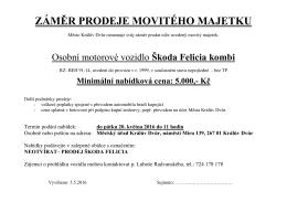 Záměr prodeje movitého majetku - osobní