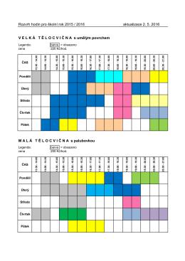 Rozvrh hodin pro školní rok 2015 / 2016 aktualizace 2. 5. 2016