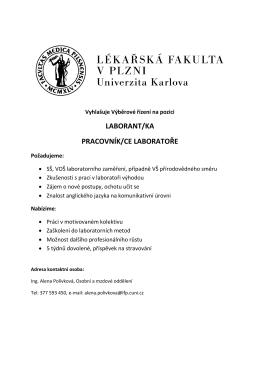 LABORANT/KA PRACOVNÍK/CE LABORATOŘE