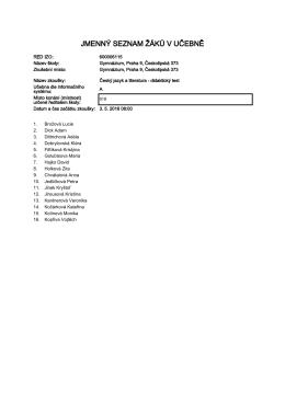 jmenný seznam žáků v učebně
