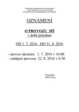 oznámení - Základní a mateřská škola Nečín