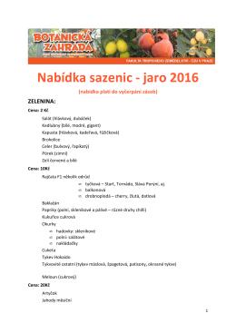 Nabídka sazenic - jaro 2016