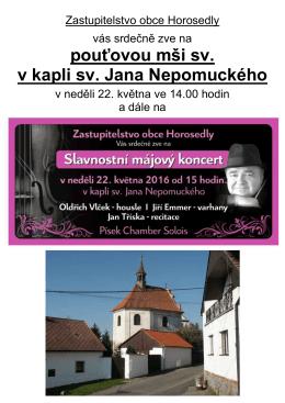 Pouťová mše sv. v kapli sv. Jana Nepomuckého