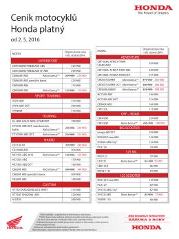 Ceník motocyklů Honda platný