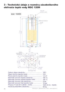 3 - Technické údaje a rozměry zásobníkového ohřívače teplé vody