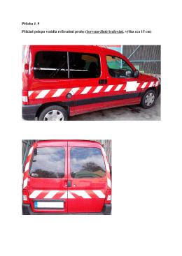 Příloha č. 9 Příklad polepu vozidla reflexními pruhy (červeno