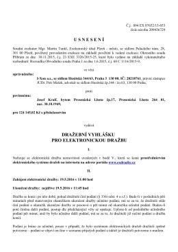 Elektronická dražba - Exekutorský úřad Plzeň