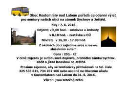 Výlet pro seniory - Kostomlaty nad Labem
