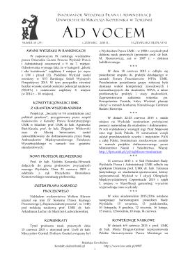 Ad Vocem 2015, nr 18 - Wydział Prawa i Administracji UMK