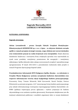 Nagrody Marszałka 2015 LAUREACI I WYRÓŻNIENI