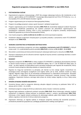 Regulamin programu motywacyjnego VTS