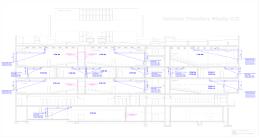 Przekrój budynku z lokalizacją projektorów