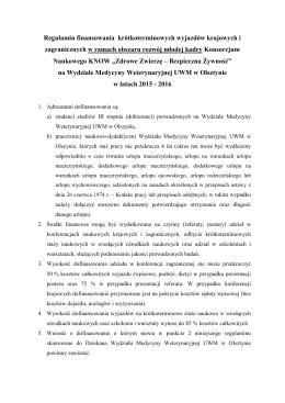 Regulamin finansowania krótkoterminowych wyjazdów krajowych i