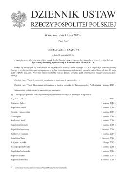 Oświadczenie Rządowe z dnia 30 kwietnia 2015 r. w sprawie mocy