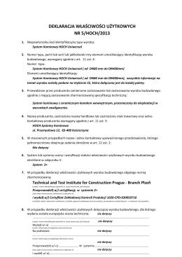 DEKLARACJA WŁAŚCIWOŚCI UŻYTKOWYCH NR 5/HOCH/2013