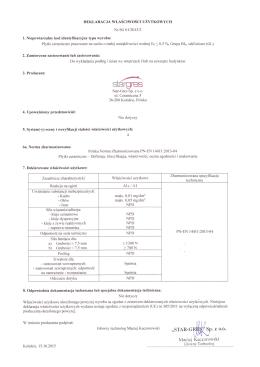 Deklaracja Właściwości Użytkowych nr SG 01/2013/3 z dnia 15.10