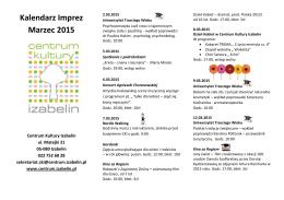 Kalendarz Imprez Marzec 2015